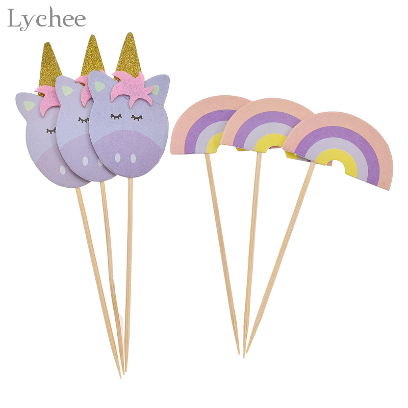 Lychee 6pcs Unicorn Rainbow Cake Topper Cupcake Picks Baby Shower Birthday Party Decoration Christmas Party Cake Decor Supplies