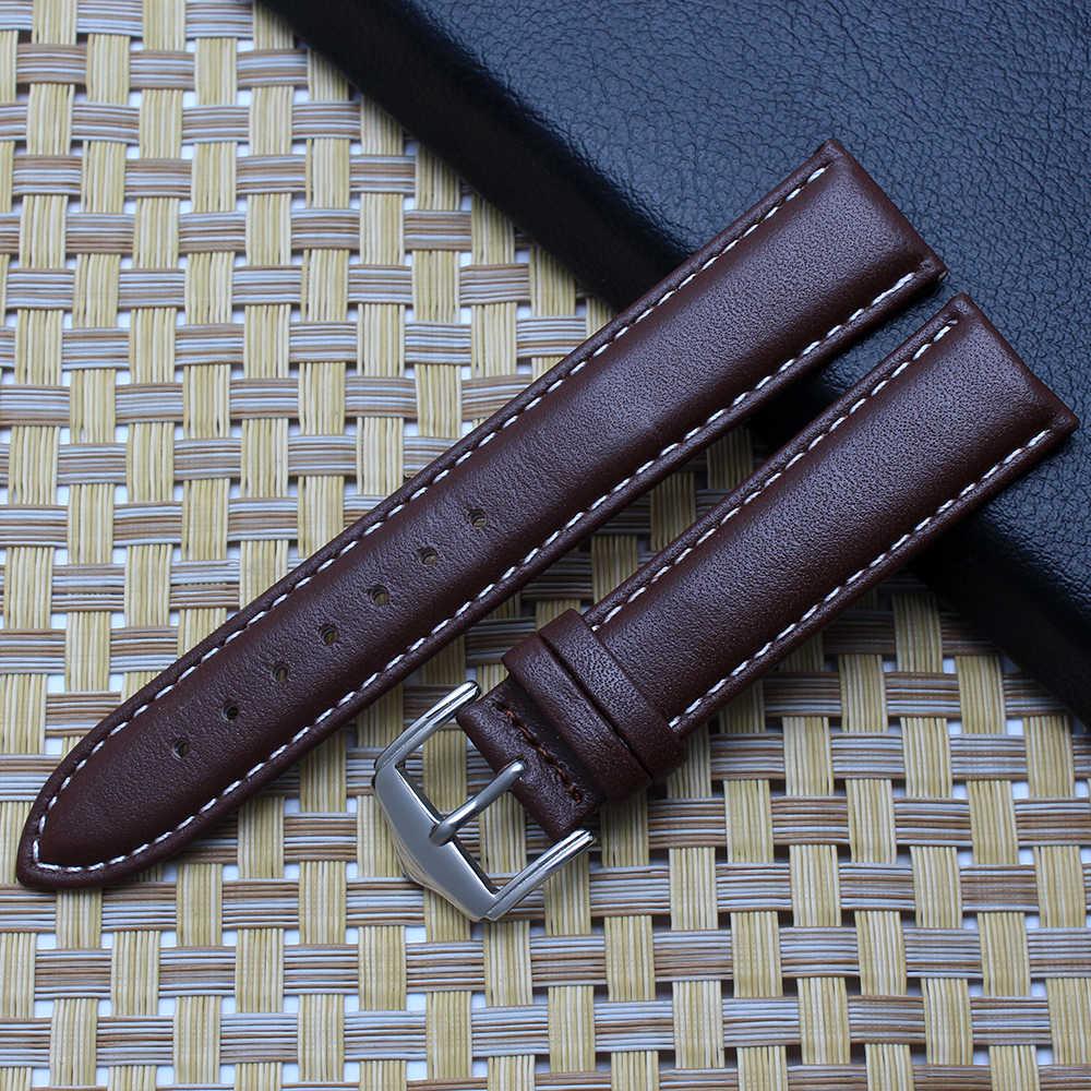 Kualitas kulit asli gelang jam 12mm 14mm 16mm 18mm 19mm 20mm 21mm 22mm hitam coklat penggantian gelang untuk tissot/casio