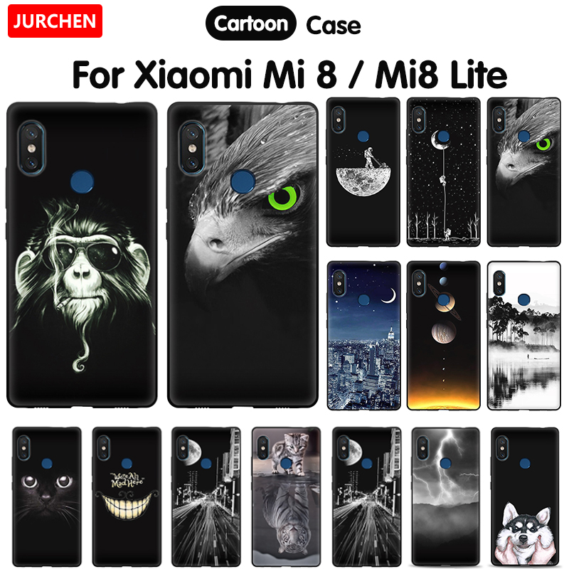 JURCHEN Cartoon Phone Case For <font><b>Xiaomi</b></font> <font><b>Mi8</b></font> Lite Cover For <font><b>Xiaomi</b></font> Mi 8 Youth Silicone Soft Black Cover For <font><b>Xiaomi</b></font> Mi 8 Lite Case image