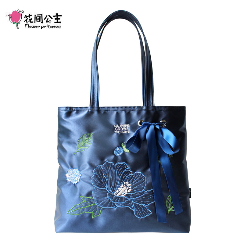 Flower Princess Ribbons Embroidery Shoulder Bag Women Luxury Handbags Women Bags Designer Tote Bags for Women