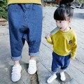Bebés de los pantalones vaqueros pantalones 2-3-4-primavera bebé de 5 años colgando entrepierna pantalones Pantalones Haren los niños coreanos pantalones