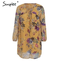 Simplee Floral Print V Neck Lace Up Short Dress Charm Lantern Sleeve Loose Dress Women Vintage