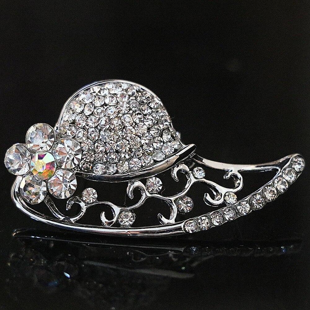 9b3dbceec43cc New silver plated sun hat brooch white rhinestone crystal Korean style women  pins jewelry accessories B1217
