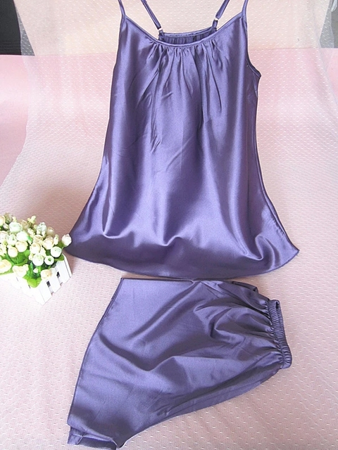 Silk Satin Sleepwear Sleeveless Pijama