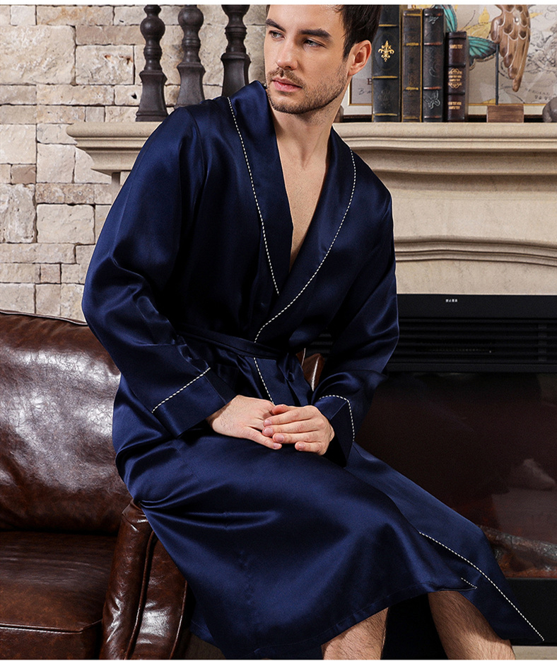 2019 Spring and Autumn Satin Men's Silk Nightgown Long Sleeve Simple Silk Pajamas Home Service Bathrobe