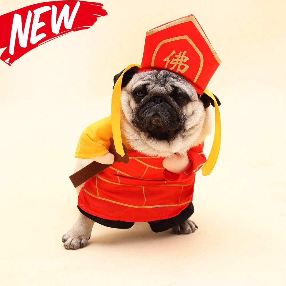 Funny Dog Cat Buddha Costumes Tang Monk Cosplay Suit Pet Apparel Gifts Halloween Clothes For Puppy Dogs Costume for a cat