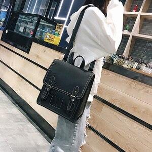 Image 3 - Vintage Pu Leather Women Backpack Preppy Style Backpacks Women Fashion School Bag College Backpack Women Shoulder Bags Mochilas