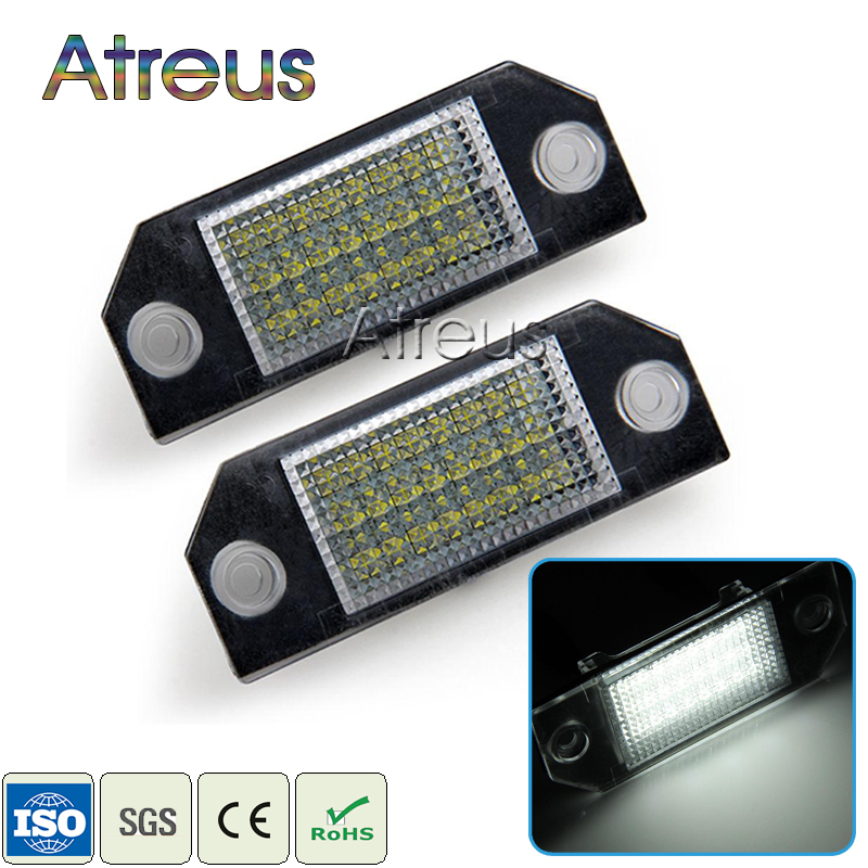 Atreus Car LED License Plate Lights 12V For Ford Focus 2 C-Max accessories No error 2X White SMD LED Number Plate Lamp Bulb Kit 2pcs car led license plate lights 12v smd3528 number plate lamp bulb kit no error for ford mondeo mk2 fiesta fusion accessories