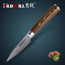 Huiwill brand 3.5″ Japanese damascus Kitchen Chef Paring knife kitchen tool Peeling Knife Fruit Knife with Nice Pakka Handle