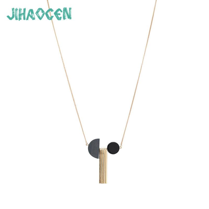 Feminino Necklaces Concise Women Accessories Bijoux Joyas Wood Stone Geometric Pendant Colgantes Necklace Statement Wholesale