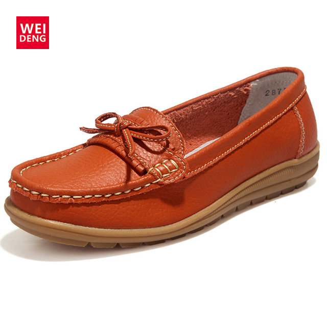 4 Colors 2016 New Women Genuine Leather Casual comfortable Fashion Flat Rubber Slip on Shoes loafers Size 35-40