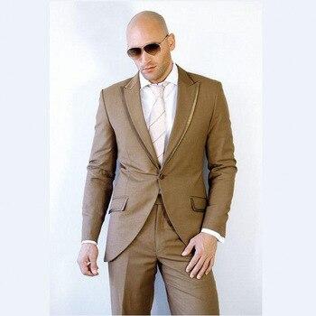 New Arrival Camel Men Suit Slim 2017 Stylish Peak Collar 3 Pieces Best Men Wedding Party Tuxedos (Jacket+Pants+Vest+Tie )