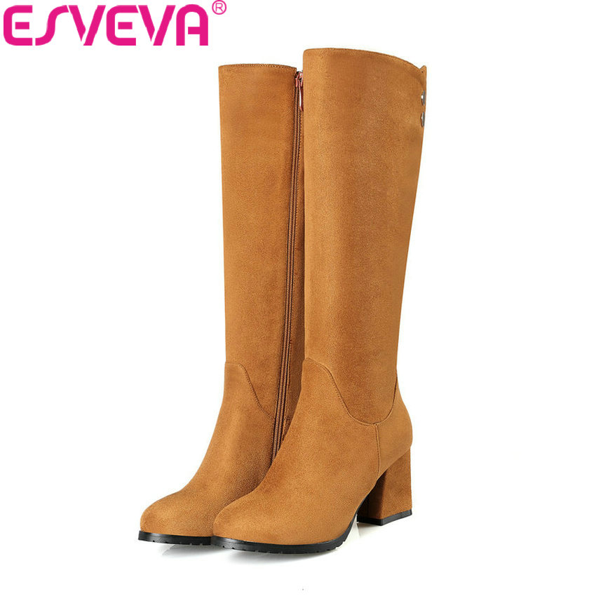 ESVEVA 2018 Women Boots Square High Heels Comfortable Short Plush Knee High Boots Fashion Out Door Ladies Boots Size 34-43 esveva 2018 winter women boots over knee high boots real leather scrub boots square heels short plush ladies boots size 34 39