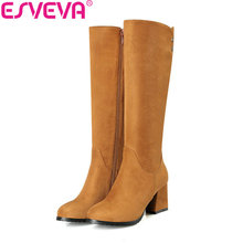 ESVEVA 2018 Women Boots Square High Heels Comfortable Short Plush Knee High Boots Fashion Out Door Ladies Boots Size 34-43