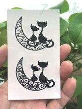 Water Transfer Fake Tattoo Cute Moon Couple Cats Tatoo Waterproof Temporary Tattoo Flash Tattoo For Woman Man 10.5*6 Cm