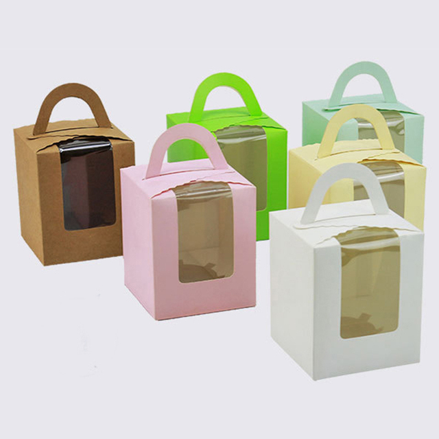 50 pcs Lovely Green Happy Everyday Spot Macarons Box Cake Box Chocolate Muffin Biscuits Box for Cookie Package