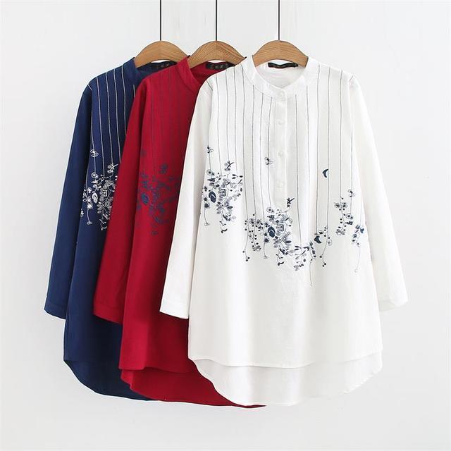 a3e71e419 Blusas manga larga cuello mandarín talla grande para mujer 2018 bordado  rojo y blanco y azul