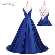 Mode Royal Blue Evening Dresses Lång V-Neck Open Back Aftonklänning Satin Ball Gown Prom Party Dress Robe de Soiree FN1
