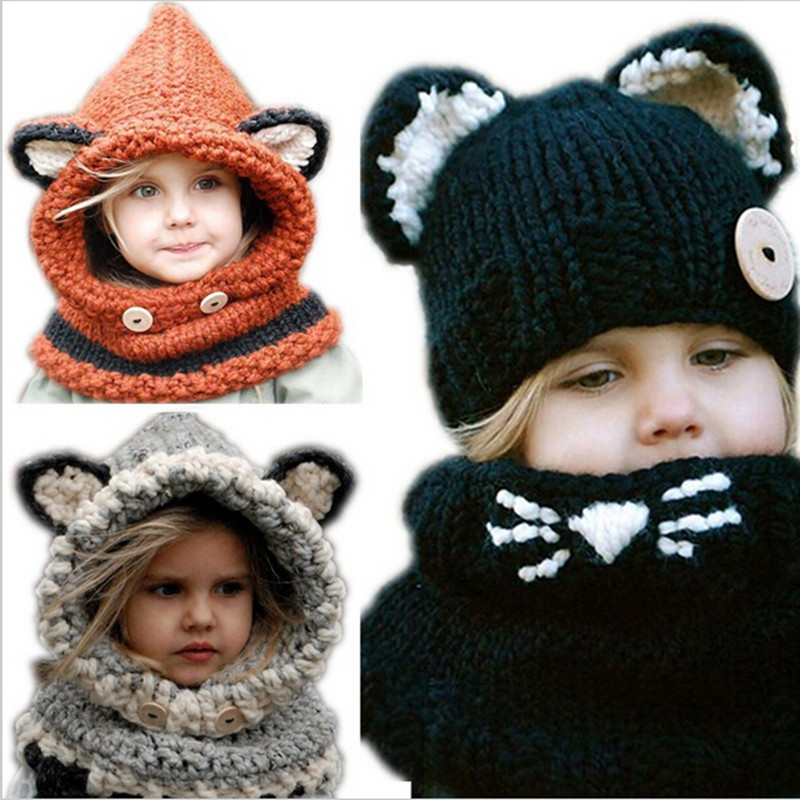 The New 2016 Baby Hats & Caps Cat Ear / Fox Kids Hats Shawl Winter Children Hats Handmade Knitted Baby Accessories
