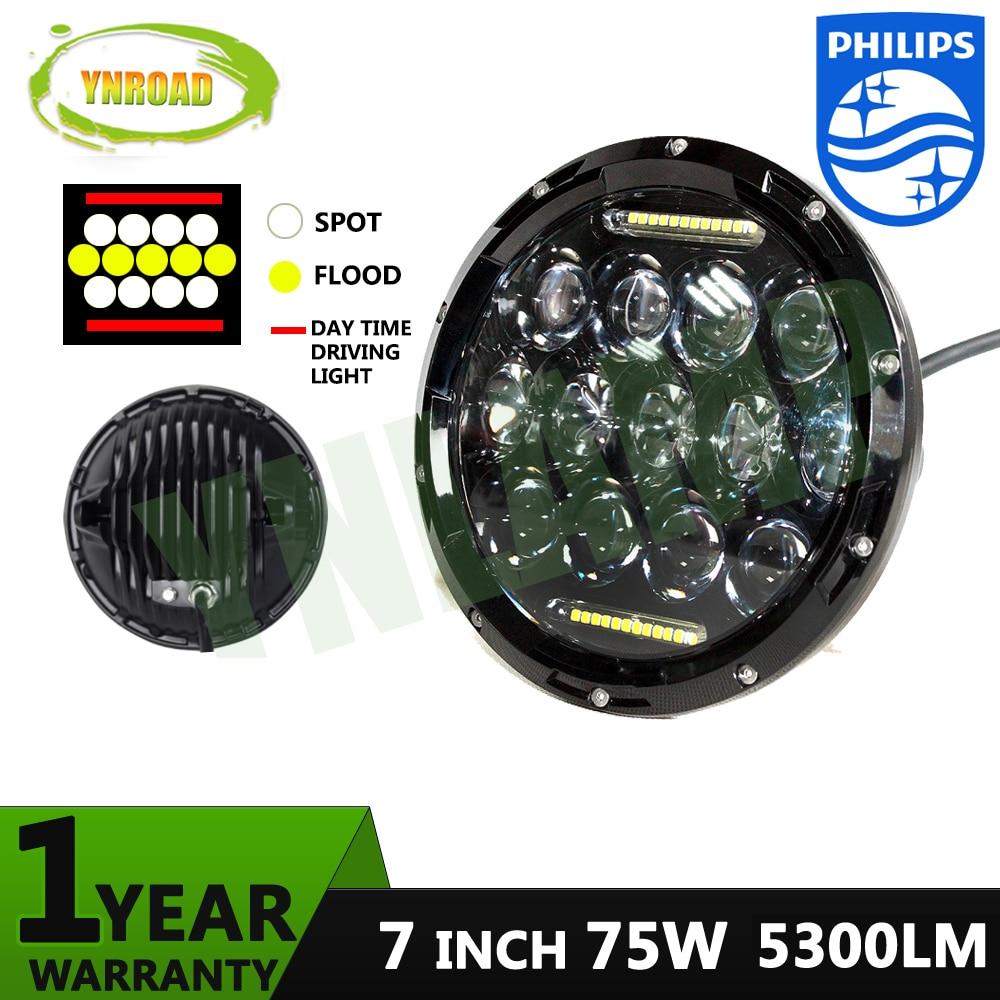75W Hi/ Low Beam 7 inch 13pcs*5w+10WD RL  Led Chrome Round headlight light off road new design 5300LM