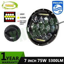 75W Hi/ Low Beam 7 inch 13pcs*5w+10WD RL  Led Chrome Round headlight light off road new design 5300LM