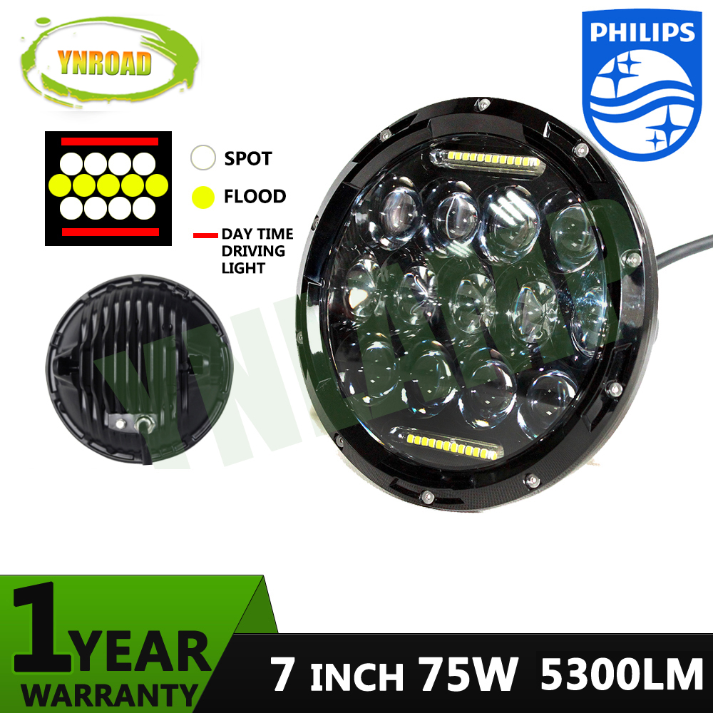 YNROAD Pair 75W Hi/ Low Beam 7 inch 13pcs*5w+10WD RL Led Chrome Round headlight light off road light new design 5300LM