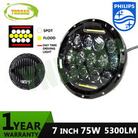 75W Hi Low Beam 7 Inch 13pcs 5w 10WD RL Led Chrome Round Headlight Light Off