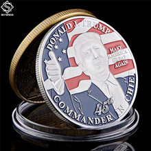 American 45th President Donald Trump Coin US White House The Statue of Liberty Silver Replica Coin Collection