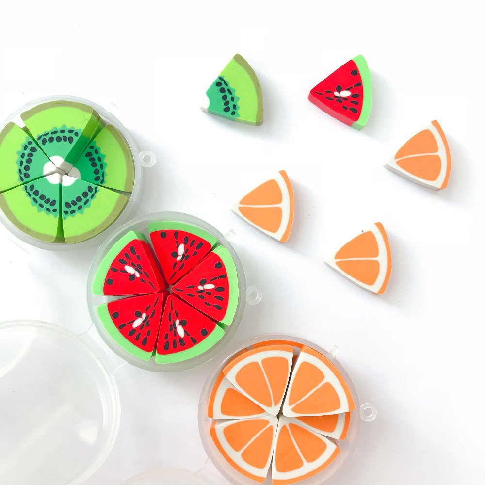 10pcs /Box Fresh Orange Kiwi Watermelon Eraser Correction Kids Prize Promotional Gift Student School Stationery