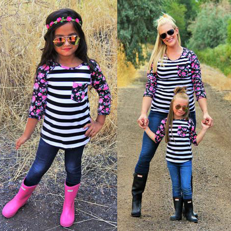 2018 New Fashion Family Matching Outfits Patchwork flower Long sleeve Striped T-Shirts mother and daughter clothes family look