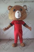Classical brown very big head teddy bear cartoon costume/personality blue Velcro suits teddy baby bear mascot cartoon costume