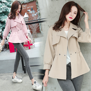 Bri 2019 New Fashion Double Breasted Short Trench Coat Women Khaki Slim Outwear Mujer Windbreaker Female Overcoat