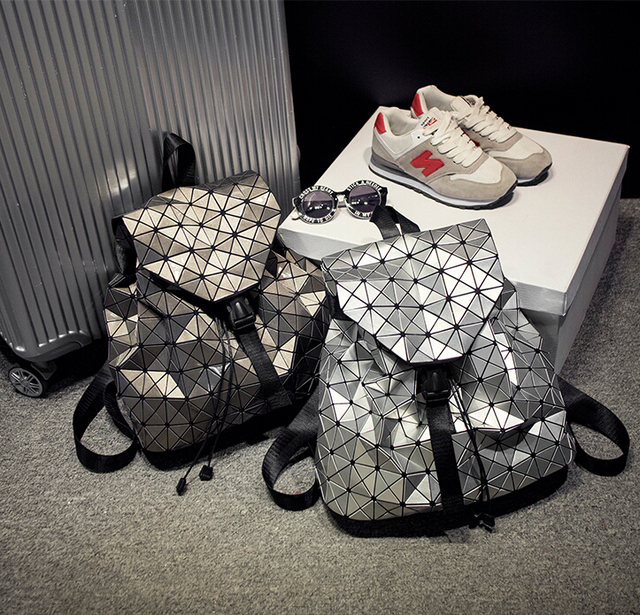 2017 New women's backpack Geometric Shoulder Student's school bag Hologram bag laser silver Luminous Brand bao bao bag backpacks