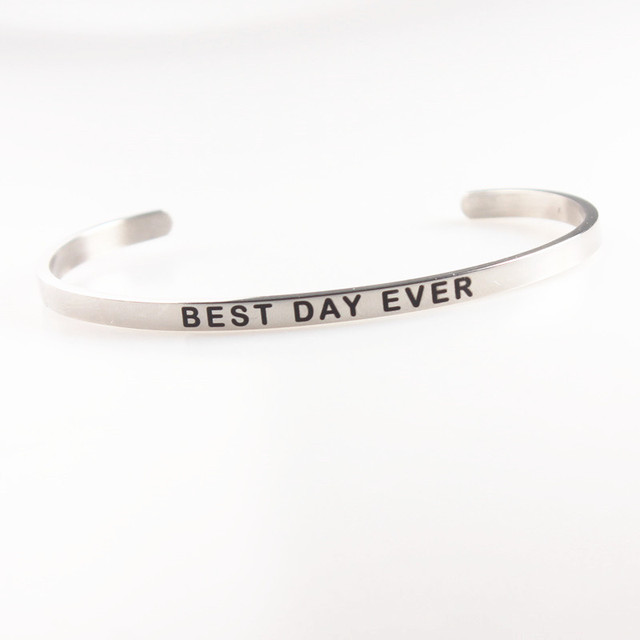 Best Day Ever Stainless Steel Positive Inspriation Bangles 4mm