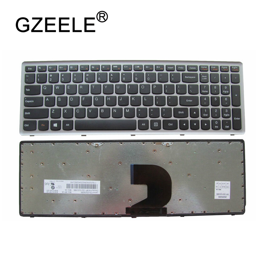 GZEELE NEW US Keyboard For Lenovo Ideapad Z500 Z500A Z500G P500 P500A Laptop US English Laptop Keyboard Silver Without Backlit