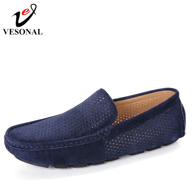 Breathable Light Soft Moccasins Loafers Shoes For Men Boat Casual Cow Suede Driving Footwear