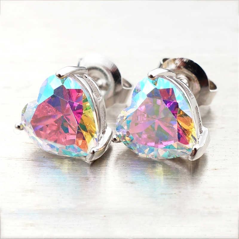 Women Round Cut Rainbow Zircon Laser Holographic Colorful Ear Stud Earrings