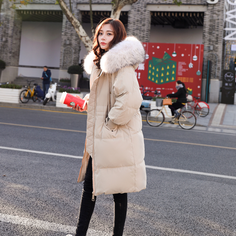 Big Fur Collar 2018 Winter Jacket Women Plus Size Long   Parkas   Thicken Solid Hooded Coats Female Slim Cotton Padded Outerwear