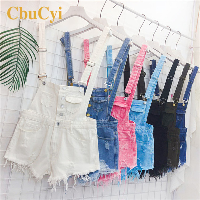 CbuCyi Fashion Denim Overalls for Women Jumpsuit Female Denim Rompers Womens Playsuit Salopette Straps Overalls Shorts Rompers 2