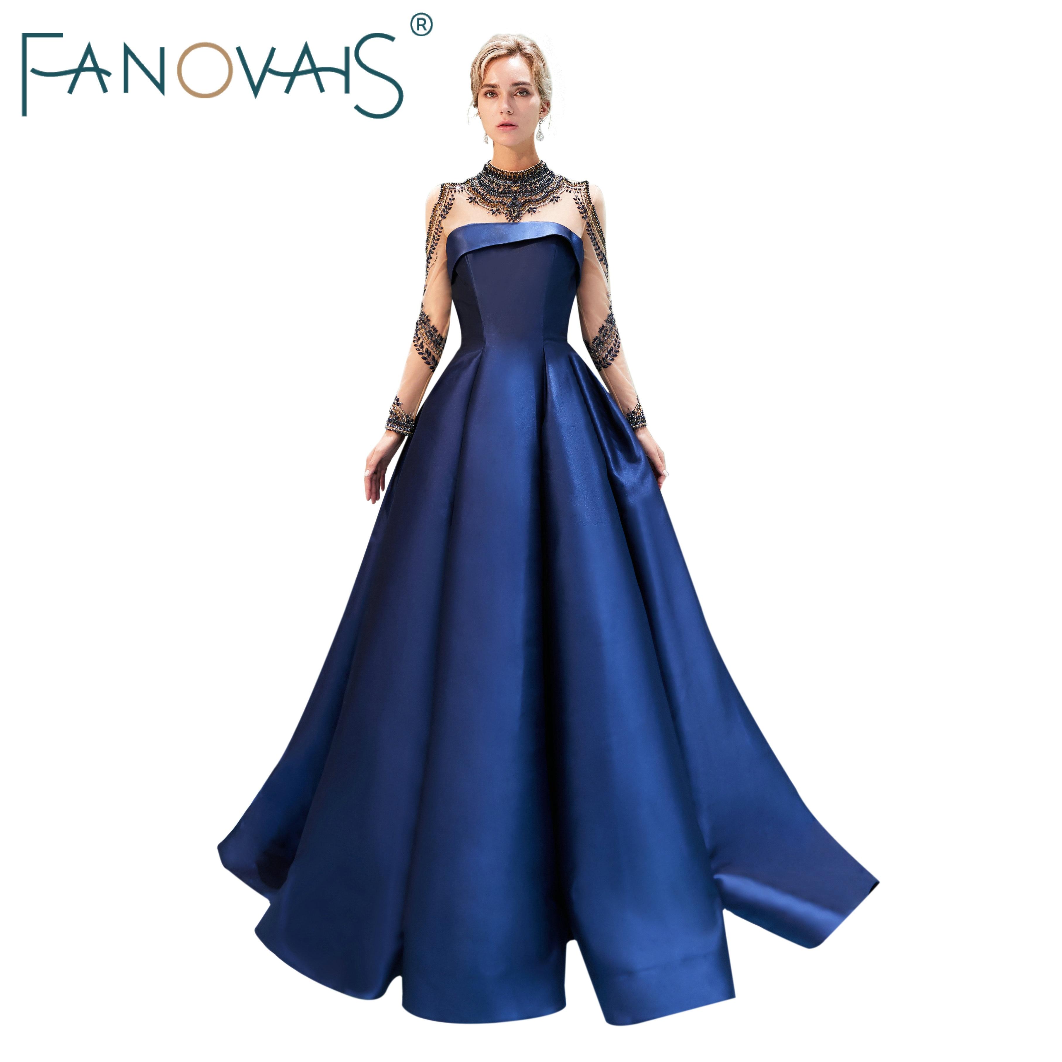 Royal Blue Evening Dresses Long Sleeves High neck Prom Dresses 2019 Vestido de festia longo robe de soiree satin evening gowns