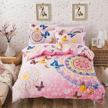 UNIHOME 100%COTTON bohemian boho style pink butterfly bedding set girlsbutterfly cartoon print giraffe duvet cover bed linen