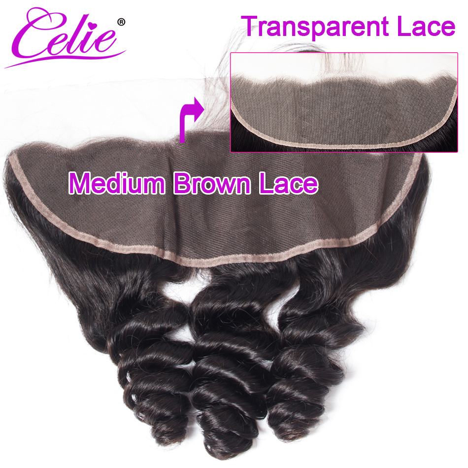 Celie Brazilian Loose Wave HD Lace Frontal Closure 8-22 Inch Transparent Lace Frontal Remy Human Hair Frontal Swiss Lace Closure