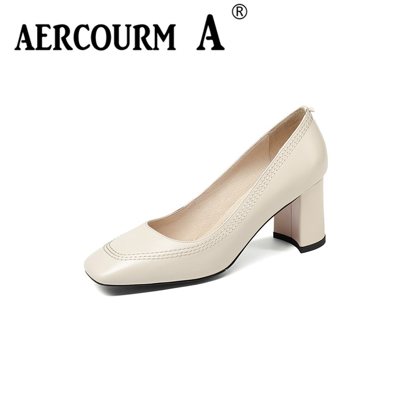 цены Aercourm A Women Sewing Solid Color Pumps Shoes Female Shallow Genuine Leather Shoes Square High Heel Black White Dress Shoes