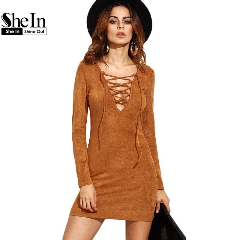 Shein  ladies otoño vaina vestidos de las mujeres de manga larga camel faux sued