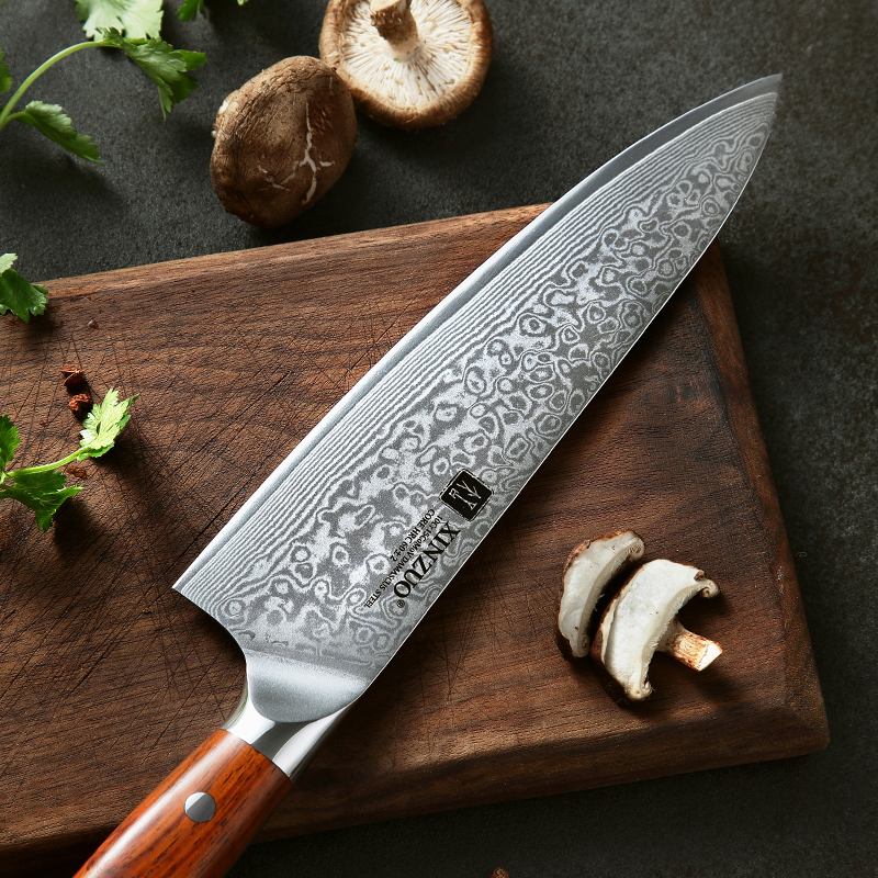 High Quality 8.5 Inch VG10 Japanese 67 Layer Stainless Steel Damascus Knife Rosewood Handle 4