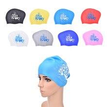 Impressão lily silicone natação boné para cabelo longo feminino à prova dwaterproof água natação bonés senhoras mergulho capuz chapéu para crianças garras natacion