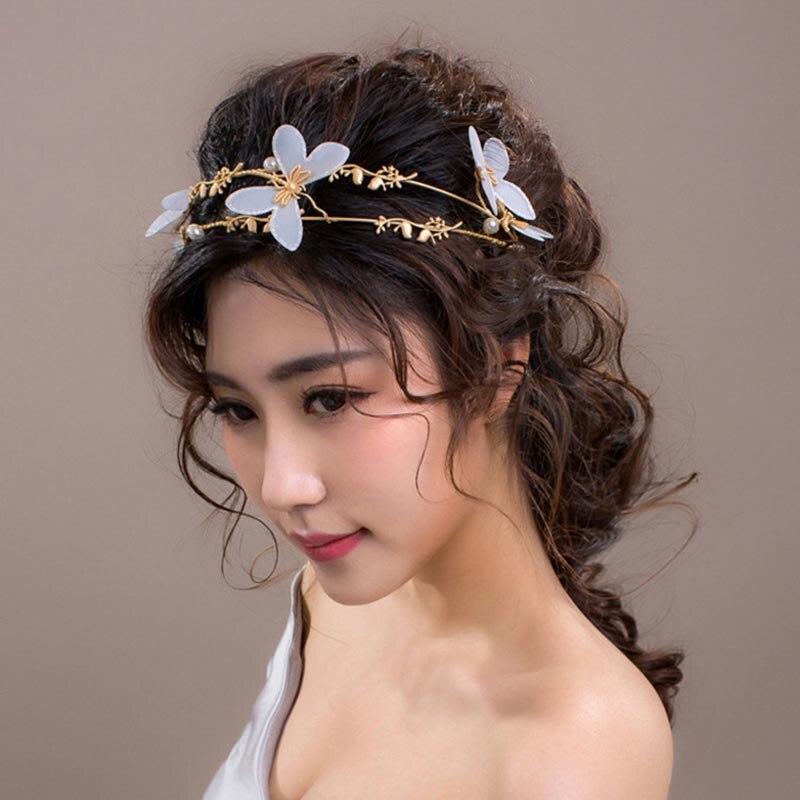 White Wedding Dress Gold Jewelry: Bridal Bride Golden Tiara White Butterfly Jewelry Wedding