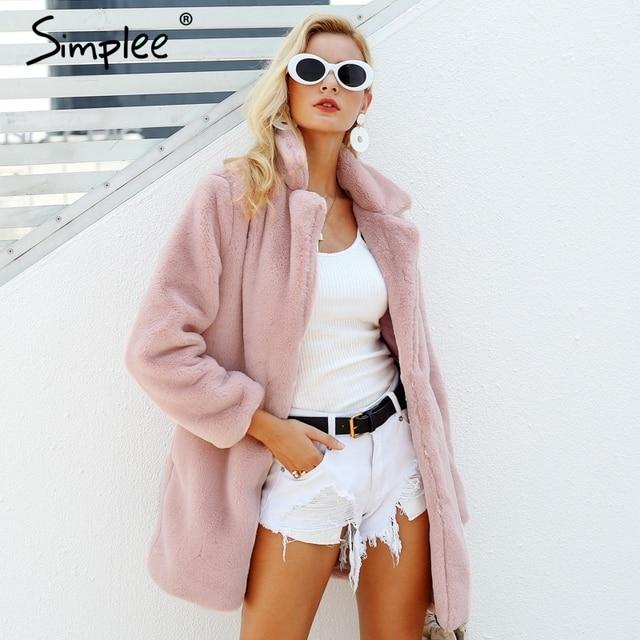 Elegant pink shaggy women faux fur coat street wear Autumn winter warm plush teddy coat Female plus size overcoat party 1