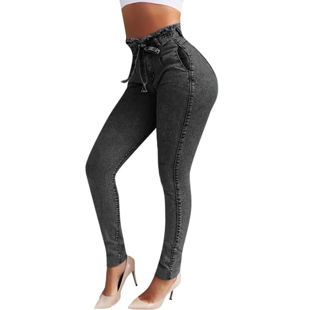 HTB1WuksSzDpK1RjSZFrq6y78VXaO modis Women Elastic Butto Tassel Loose  Denim Casual Small Feet  Slim Fit Jeans vaqueros mujer calca jeans feminina 2019#4