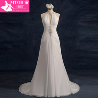 Shopping Sales Online A Line Chiffon Halter Wedding Dresses Pleat Real Wedding Gowns Vestido De Noiva